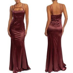 Silky Satin Mermaid Maxi Dress - Burgundy